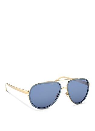 Figure View - Click To Enlarge - Linda Farrow - Inset aluminium rim titanium aviator mirror sunglasses
