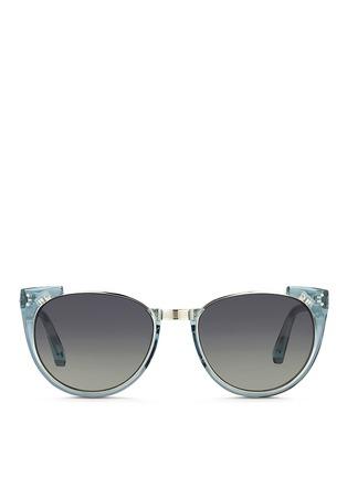 Main View - Click To Enlarge - Linda Farrow - 'Upside Down Browline' titanium rim acetate sunglasses