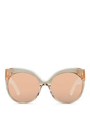 Main View - Click To Enlarge - Linda Farrow - Caged titanium temple oversize acetate sunglasses