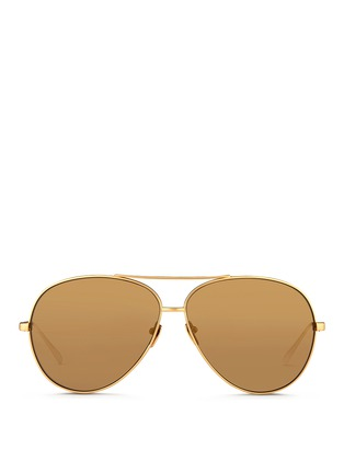 Main View - Click To Enlarge - Linda Farrow - Matte titanium oversize aviator mirror sunglasses
