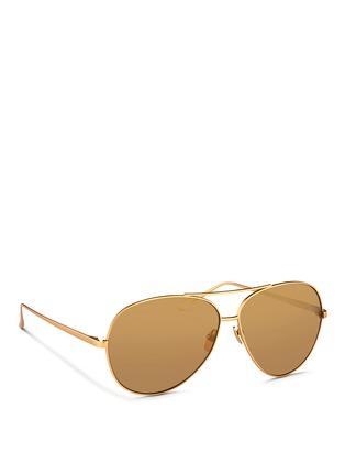 Figure View - Click To Enlarge - Linda Farrow - Matte titanium oversize aviator mirror sunglasses