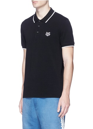 Front View - Click To Enlarge - KENZO - Tiger patch stripe polo shirt