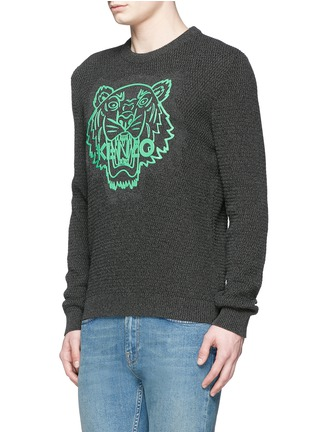 Front View - Click To Enlarge - KENZO - Rubber tiger head print sweater