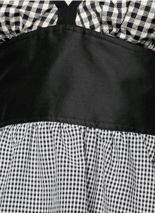 Detail View - Click To Enlarge - ISA ARFEN - Mixed gingham check off-shoulder peplum top
