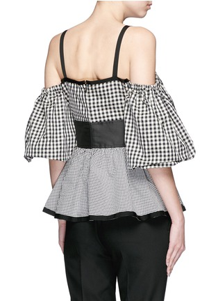 Back View - Click To Enlarge - ISA ARFEN - Mixed gingham check off-shoulder peplum top