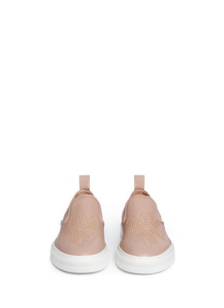 Front View - Click To Enlarge - Chloé - Floral stud leather skate slip-ons