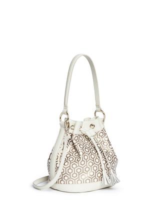 Front View - Click To Enlarge - MISCHA - 'Mini Bucket Bag' in classic hexagon print