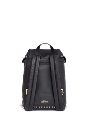 Back View - Click To Enlarge - Valentino - 'Rockstud' flap drawstring leather backpack