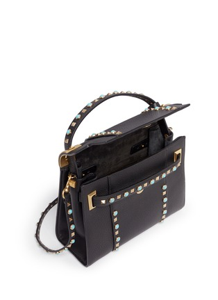 Detail View - Click To Enlarge - Valentino - 'My Rockstud Rolling' small cabochon stud leather bag