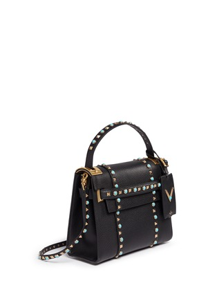 Figure View - Click To Enlarge - Valentino - 'My Rockstud Rolling' small cabochon stud leather bag