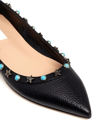 Detail View - Click To Enlarge - Valentino - 'Star Studded' leather skimmer flats