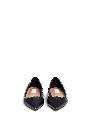 Front View - Click To Enlarge - Valentino - 'Star Studded' leather skimmer flats