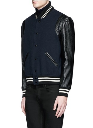 Front View - Click To Enlarge - SAINT LAURENT - Leather sleeve wool teddy jacket