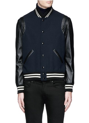 Main View - Click To Enlarge - SAINT LAURENT - Leather sleeve wool teddy jacket