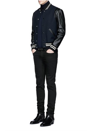 Figure View - Click To Enlarge - SAINT LAURENT - Leather sleeve wool teddy jacket