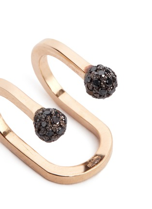Detail View - Click To Enlarge - Kim Mee Hye - 'Double Rocker' black diamond 18k rose gold lip ring