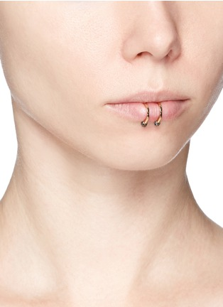 Figure View - Click To Enlarge - Kim Mee Hye - 'Double Rocker' black diamond 18k rose gold lip ring
