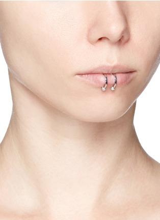 Figure View - Click To Enlarge - Kim Mee Hye - 'Double Rocker' diamond 18k white gold lip ring