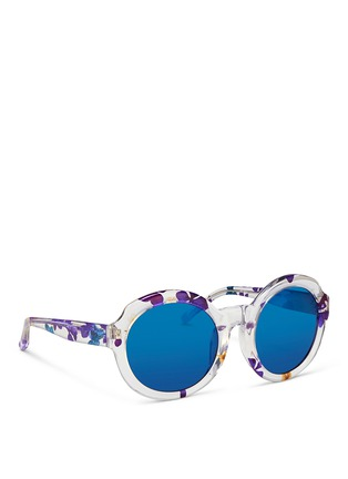 Figure View - Click To Enlarge - 3.1 Phillip Lim - Pressed flower clear acetate oversize mirror sunglasses