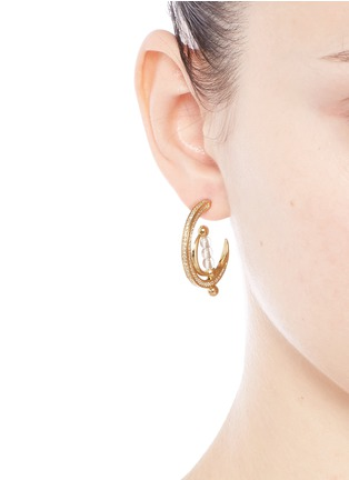 Figure View - Click To Enlarge - Eddie Borgo - 'Dahlia' crystal pavé crescent moon hoop earrings