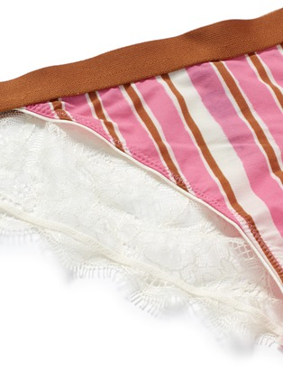 Detail View - Click To Enlarge - Love Stories - 'Wild Rose' stripe elastic waist lace briefs