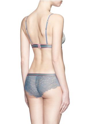 Back View - Click To Enlarge - 72930 - 'Dragonfly' stripe elastic waist lace boyshorts