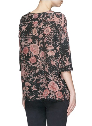 Back View - Click To Enlarge - By Walid - 'Isabel' asymmetric zip rose print silk tunic
