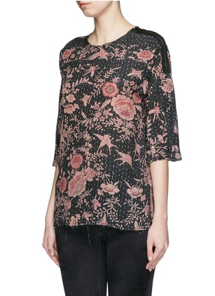 Front View - Click To Enlarge - By Walid - 'Isabel' asymmetric zip rose print silk tunic