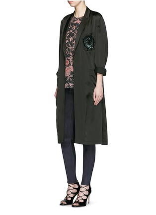 Figure View - Click To Enlarge - By Walid - 'Isabel' asymmetric zip rose print silk tunic