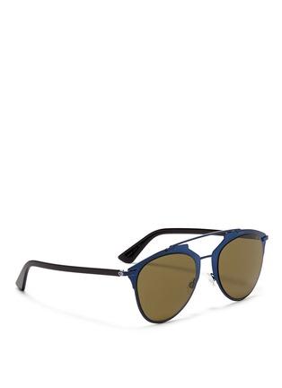 Figure View - Click To Enlarge - Dior - 'Reflected' acetate temple metal veneer aviator sunglasses