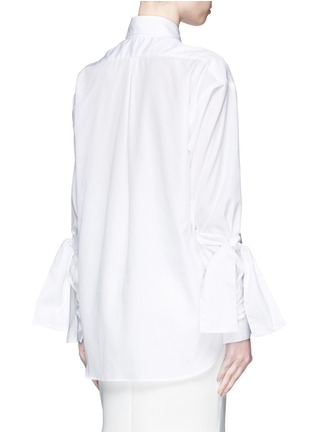 Back View - Click To Enlarge - Maticevski - 'Pivoted' sleeve tie cotton poplin shirt