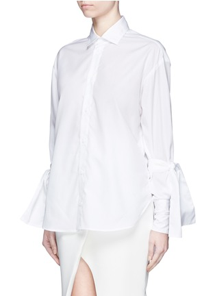 Front View - Click To Enlarge - Maticevski - 'Pivoted' sleeve tie cotton poplin shirt