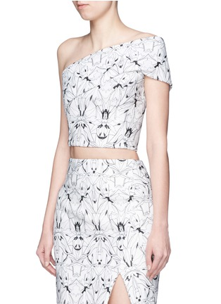 Front View - Click To Enlarge - Maticevski - 'Montage' orchid embroidery one-shoulder cropped top