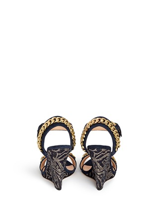 Back View - Click To Enlarge - 73426 - 'Coline' curb chain brocade wedge suede sandals