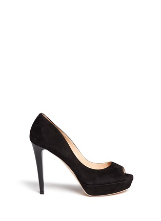 Main View - Click To Enlarge - Jimmy Choo - 'Dahlia' peep toe suede platform pumps