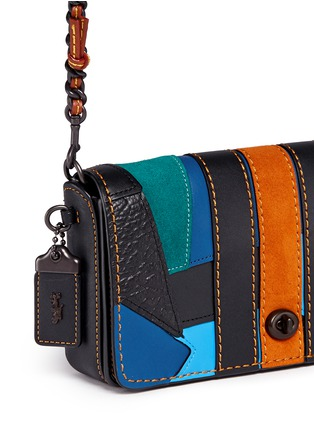 Detail View - Click To Enlarge - Coach - 'Dinky' varsity patchwork leather crossbody bag