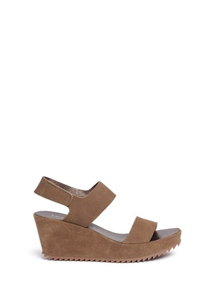 Main View - Click To Enlarge - PEDRO GARCÍA - 'Fiona' suede platform wedge sandals