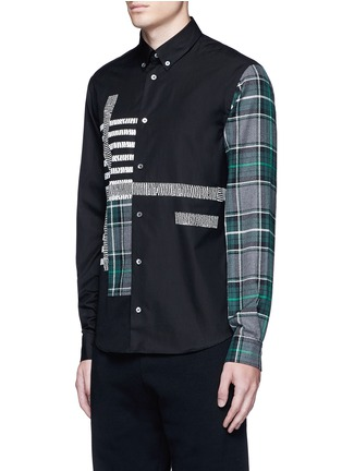 Front View - Click To Enlarge - McQ Alexander McQueen - Check plaid patchwork cotton shirt