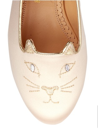 Detail View - Click To Enlarge - 201890246 - 'Incy Kitty' satin toddler slip-ons