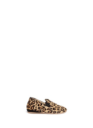 Main View - Click To Enlarge - 201890246 - Kitten' leopard print calfhair infant slip-ons
