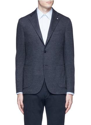 Main View - Click To Enlarge - Lardini - Dot jacquard cotton-wool jersey soft blazer