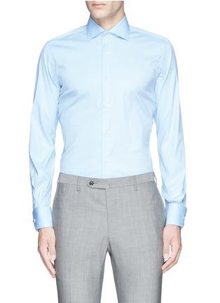 Main View - Click To Enlarge - LARDINI - Slim fit stretch cotton poplin shirt