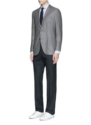 Figure View - Click To Enlarge - Lardini - Diamond stripe jacquard cotton shirt