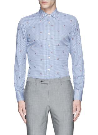 Main View - Click To Enlarge - Lardini - Fox jacquard gingham check shirt