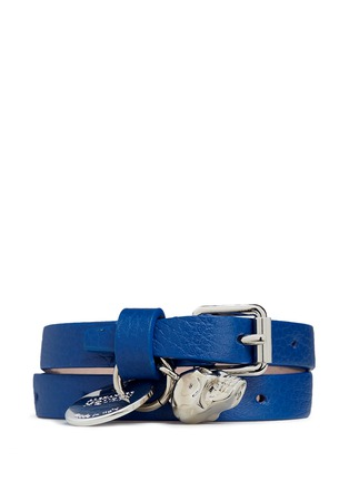 Main View - Click To Enlarge - Alexander McQueen - Double wrap skull leather bracelet