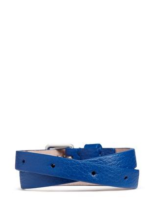 Figure View - Click To Enlarge - Alexander McQueen - Double wrap skull leather bracelet