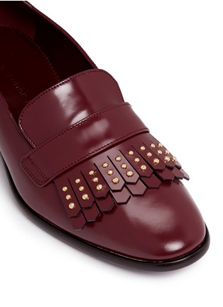 Detail View - Click To Enlarge - ALEXANDER MCQUEEN - Stud kiltie vamp leather loafers