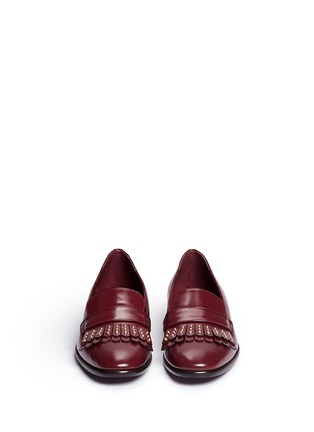 Front View - Click To Enlarge - ALEXANDER MCQUEEN - Stud kiltie vamp leather loafers