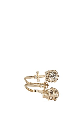 Figure View - Click To Enlarge - Alexander McQueen - Star dust twin skull spiral ring