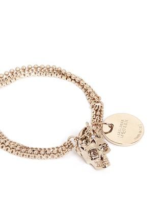 Detail View - Click To Enlarge - Alexander McQueen - Swarovski crystals royal skull triple chain bracelet